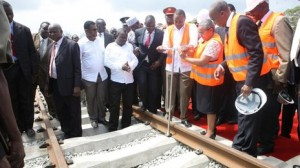 President Kenyatta (centre) launched the railway in Mombasa