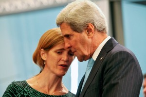 U.S. Secretary of State John Kerry (L) speaks with United States Ambassador to the United Nations Samantha Power during the United Nations Security Council meeting ( photo: (Sept. 18, 2014 - Source: Eduardo Munoz Alvarez/Getty Images North America )