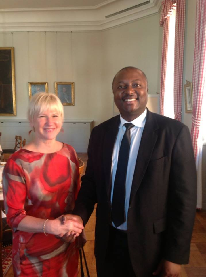 S.E. M. Albert Shingiro, Ambassadeur du Burundi auprès des Nations Unies ONU, et Mme Margot Wallström, Ministre des affaires étrangères de la Suède. ( Photo : Albert Shingiro )