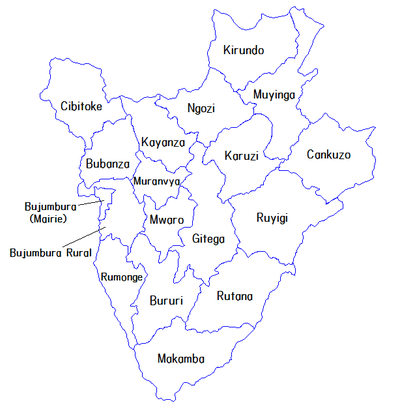 Les 18 provinces du Burundi ( Photo: Wikipedia )