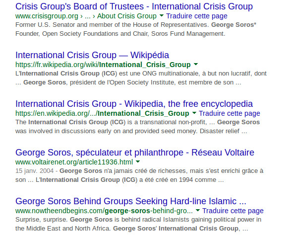 L' ICG International Crisis Group de M. George Soros