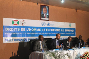 High Commissioner for Human Rights Zeid Ra'ad Al Hussein (second left) at a roundtable discussion during his mission to Burundi. Photo: UN Electoral Observation Mission in Burundi (MENUB) - Photo 15 April 2015 - UN
