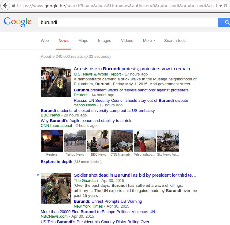 "EXEMPLE 3 ( image – Recherche google 2 mai 2015 à 8:16 matin heure Anglaise ) – LE RESEAU SAMANTHA POWER US CONNECTION  :  Voici ceux qui écrivent sur le Burundi. Il n' y a  pas un seule média ""africain"". Je vois sur l'image :  US NEWS & WORLD REPORT ; REUTERS; BBC NEWS ; CNN international ;  THE GUARDIAN ;  NEW YORK TIMES …"