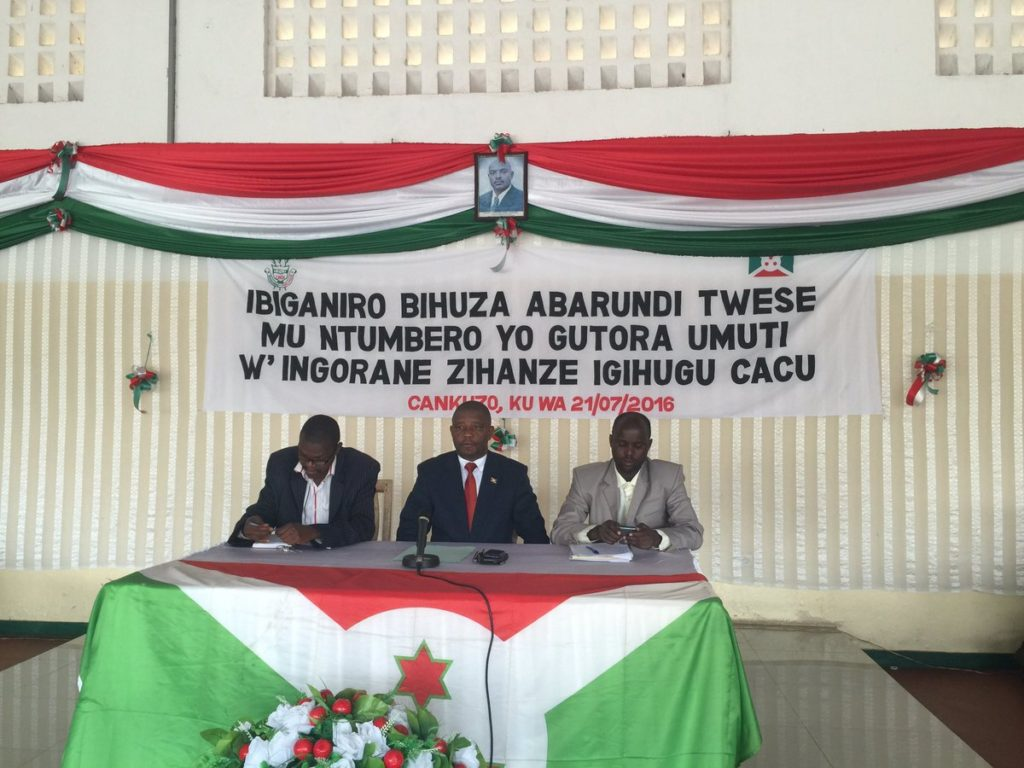 Burundi – dialogue interburundais : Cankuzo – De nouvelles instructions sur les assassinats de Rwagasore et de Ndadaye ( Photo : cndi 21/07/2016 )
