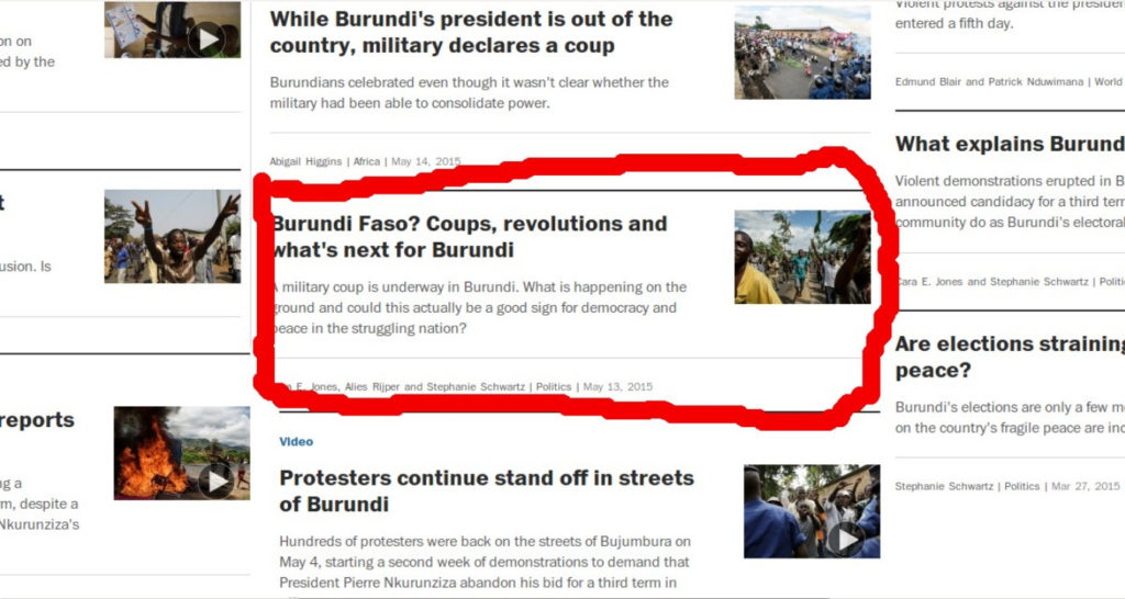 Le BURUNDI FASO ou REVOLUTION DE COULEUR AU BURUNDI ( Images tirées du Washington Post ) .