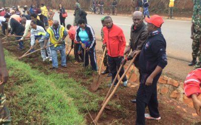 Burundi : TDC à Ngozi - Débroussailler le long de la RN15 GITEGA-NGOZI ( Photo : C. Sinzinkayo 2016 )