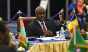 Moussa Faki Mahamat attends a meeting in Chad, in 2014. He pledges to focus on development and security. Photograph: Farouk Batiche/AFP/Getty Images