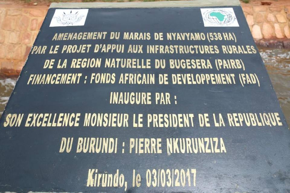 Burundi : Inauguration l'amenagement du marais de Nyavyamo à Kirundo ( Photo : ikiriho 2017 )