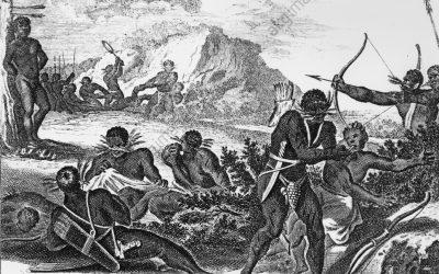 """L'EMPIRE MWENE MWEZI - """"Du Royaume du Monoemugi ou de Nimeamaye"""" (Grausamkeiten der Schwarzen im südl. Afrika). Dessin : Olfert Dapper Date : 1686"""
